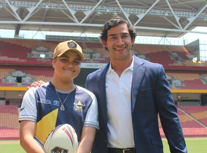 Brodi and Jonathan Thurston together on the field