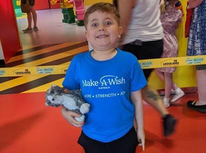 Make-A-Wish Australia wish kid Zach standing in LEGOLAND