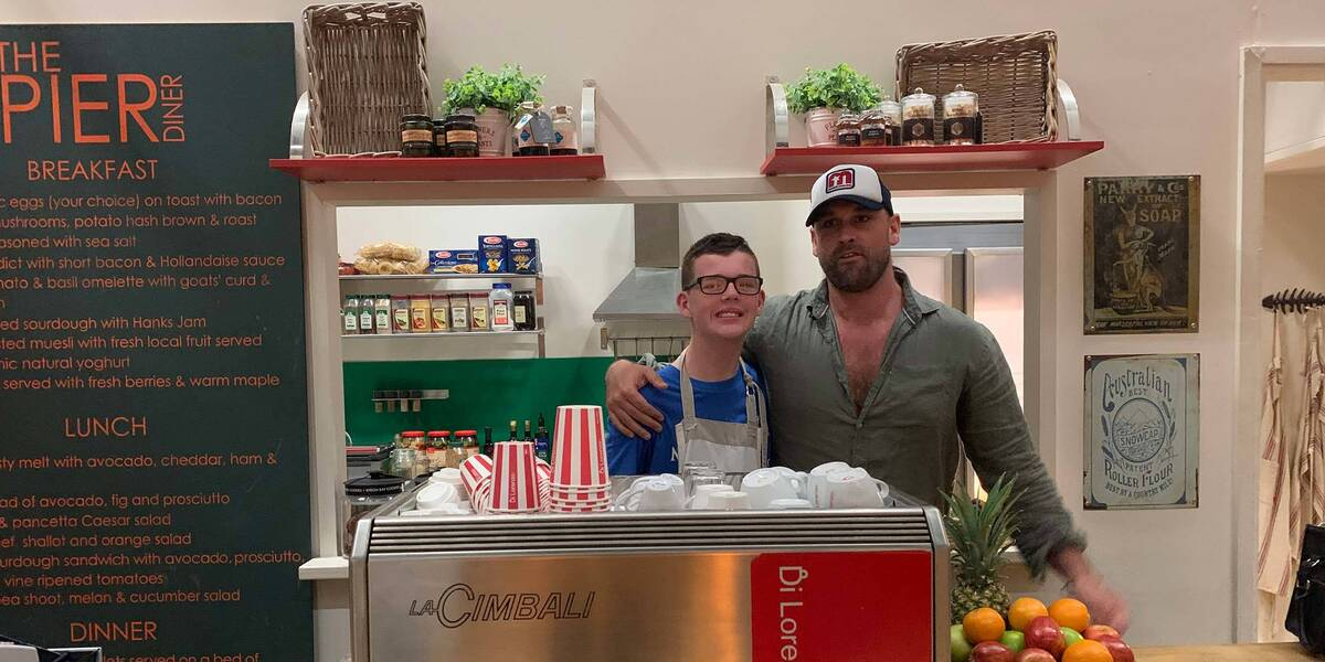 Make-A-Wish wish kid Jackson on the set of Home and Away with Robbo
