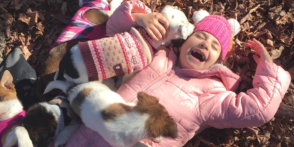 Make A Wish Australia Children's Charity - Dara on her wish very happy with puppies jumping all over her