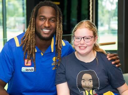 Make-A-Wish Australia wish kid Jacinta with Nic Naitanui in Perth