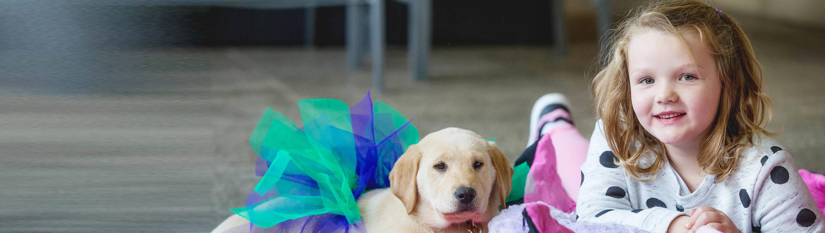 Make A Wish Australia, Children's Charity - Charli on her wish with her puppy Lola wearing a tutu
